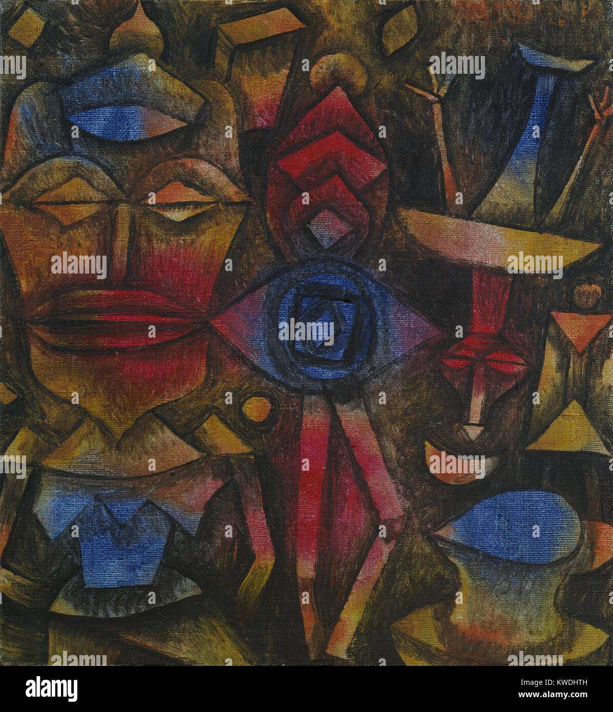 COLLECTION OF FIGURINES, by Paul Klee, 1926, Swiss painting, oil on canvas. Humanoid figures with unnaturalistic - Stock Image