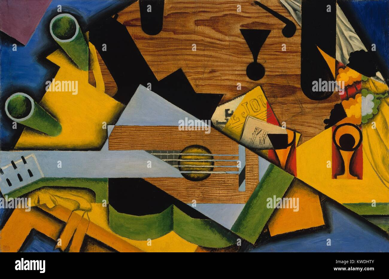 STILL LIFE WITH A GUITAR, by Juan Gris, 1913, Spanish Cubist painting, oil on canvas. This work is strongly influenced - Stock Image