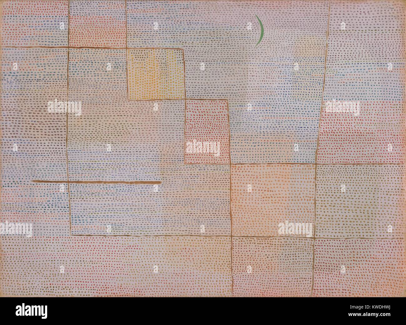 CLARIFICATION, by Paul Klee, 1932, Swiss painting, oil on canvas. Klee divided the ground into areas of buff and - Stock Image