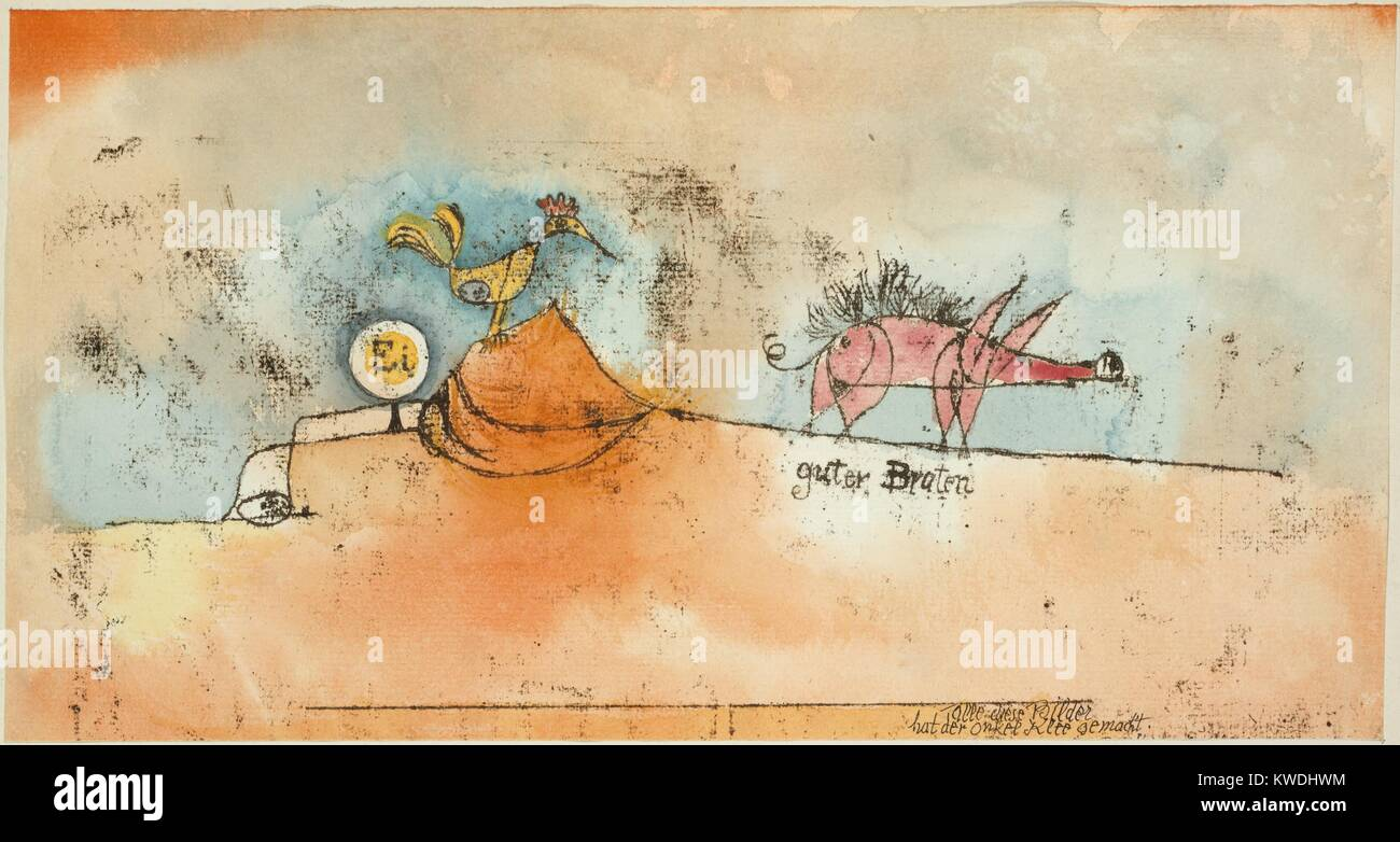 WHERE EGGS AND THE GOOD ROAST COME FROM, by Paul Klee, 1921, Swiss watercolor painting with ink. Line drawing of - Stock Image