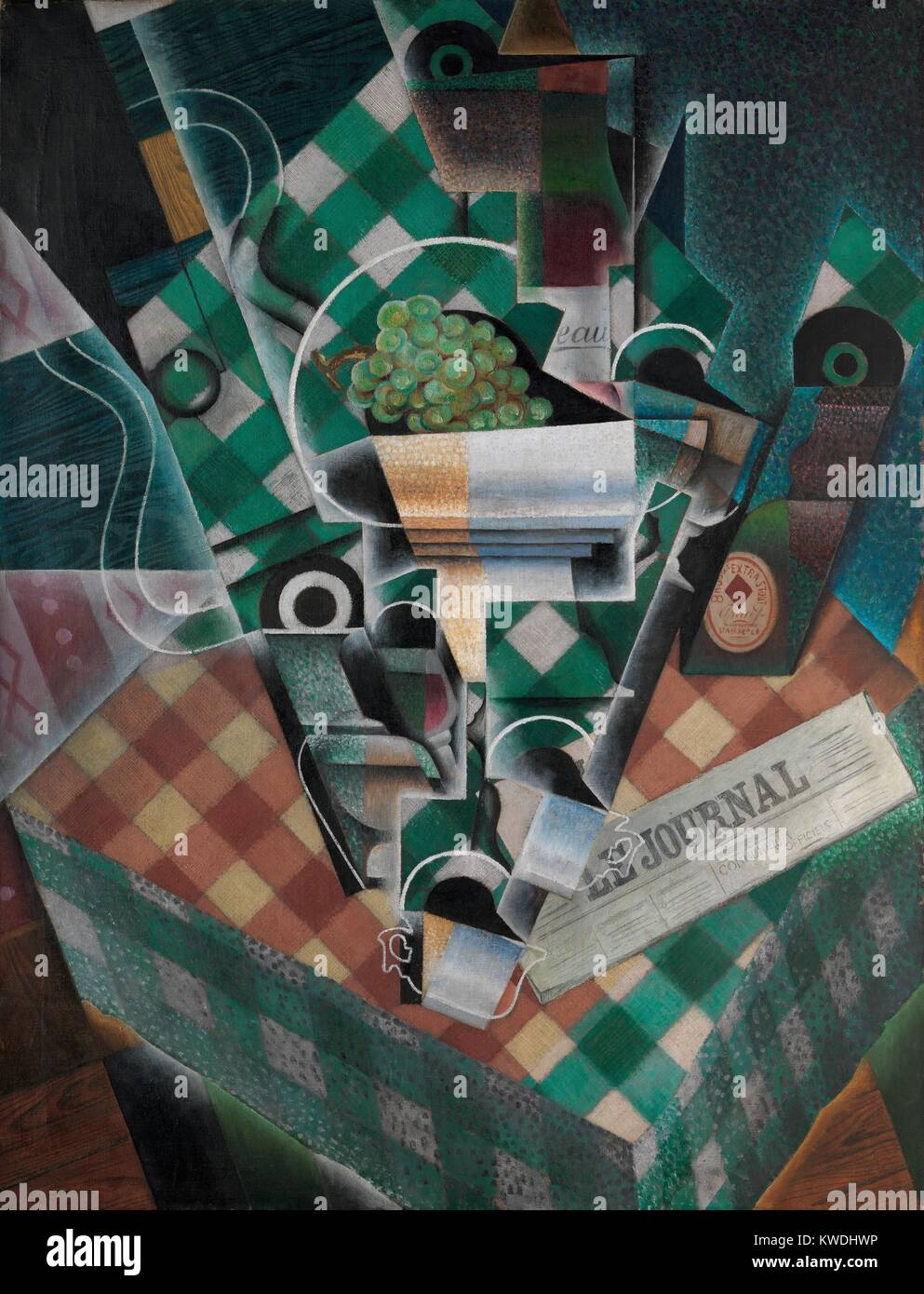 STILL LIFE WITH CHECKED TABLECLOTH, by Juan Gris, 1915, Spanish Cubist painting, oil and graphite on canvas. Gris - Stock Image