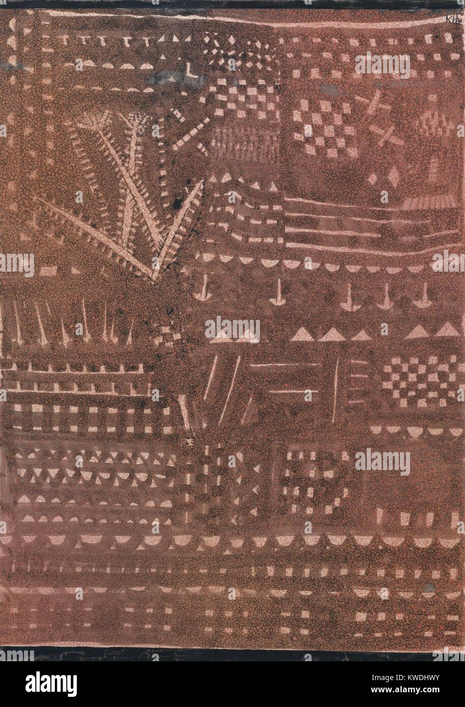 IN THE MANNER OF LEATHER TAPESTRY, by Paul Klee, 1925, Swiss drawing, ink and tempera on paper. Painting splattered - Stock Image
