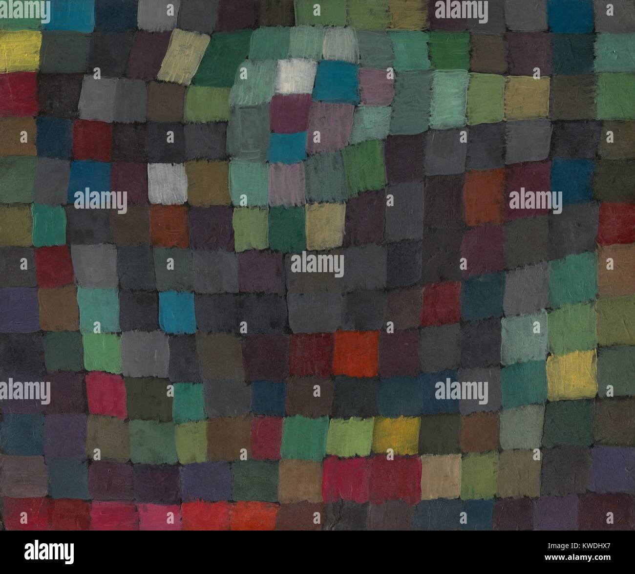 MAY PICTURE, by Paul Klee, 1925, Swiss painting, oil on cardboard. This is from Klee's Magic Square series, which Stock Photo