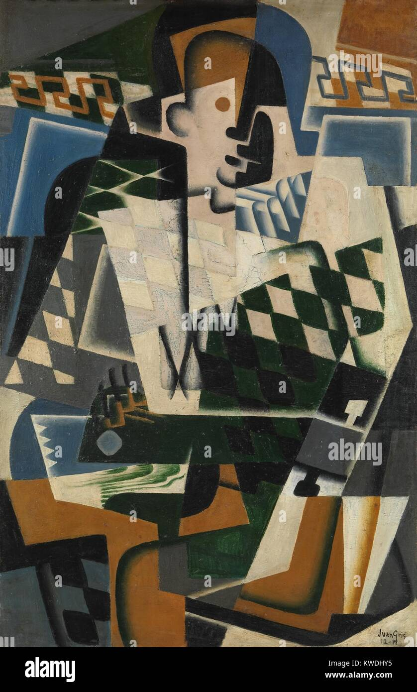 HARLEQUIN WITH A GUITAR, by Juan Gris, 1917, Spanish Cubist painting, oil on panel. Gris made his Avant Garde art - Stock Image