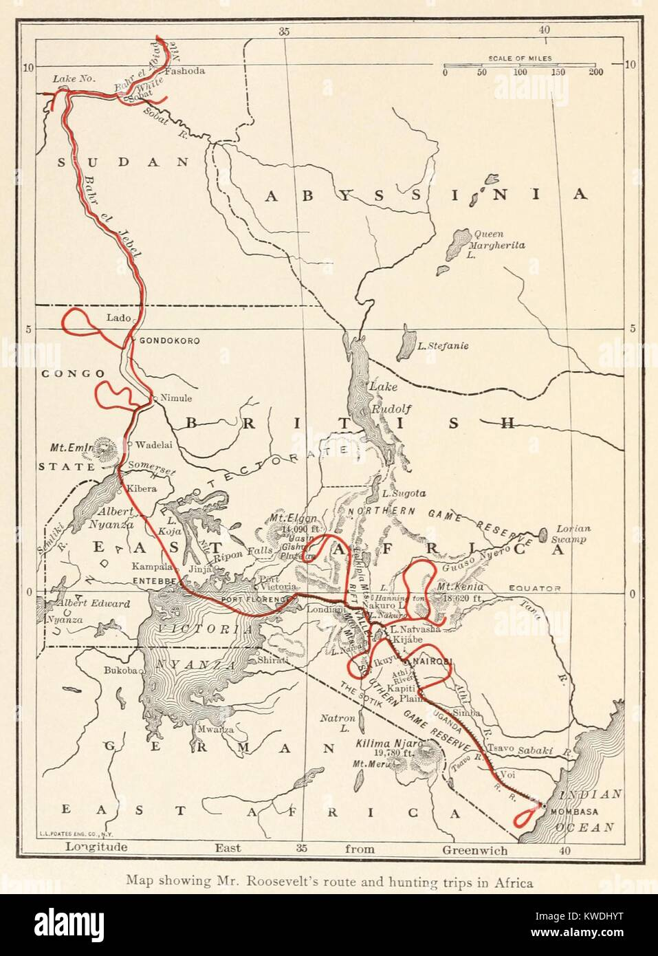 Map Of The Route Of The Smithsonian Roosevelt African Expedition