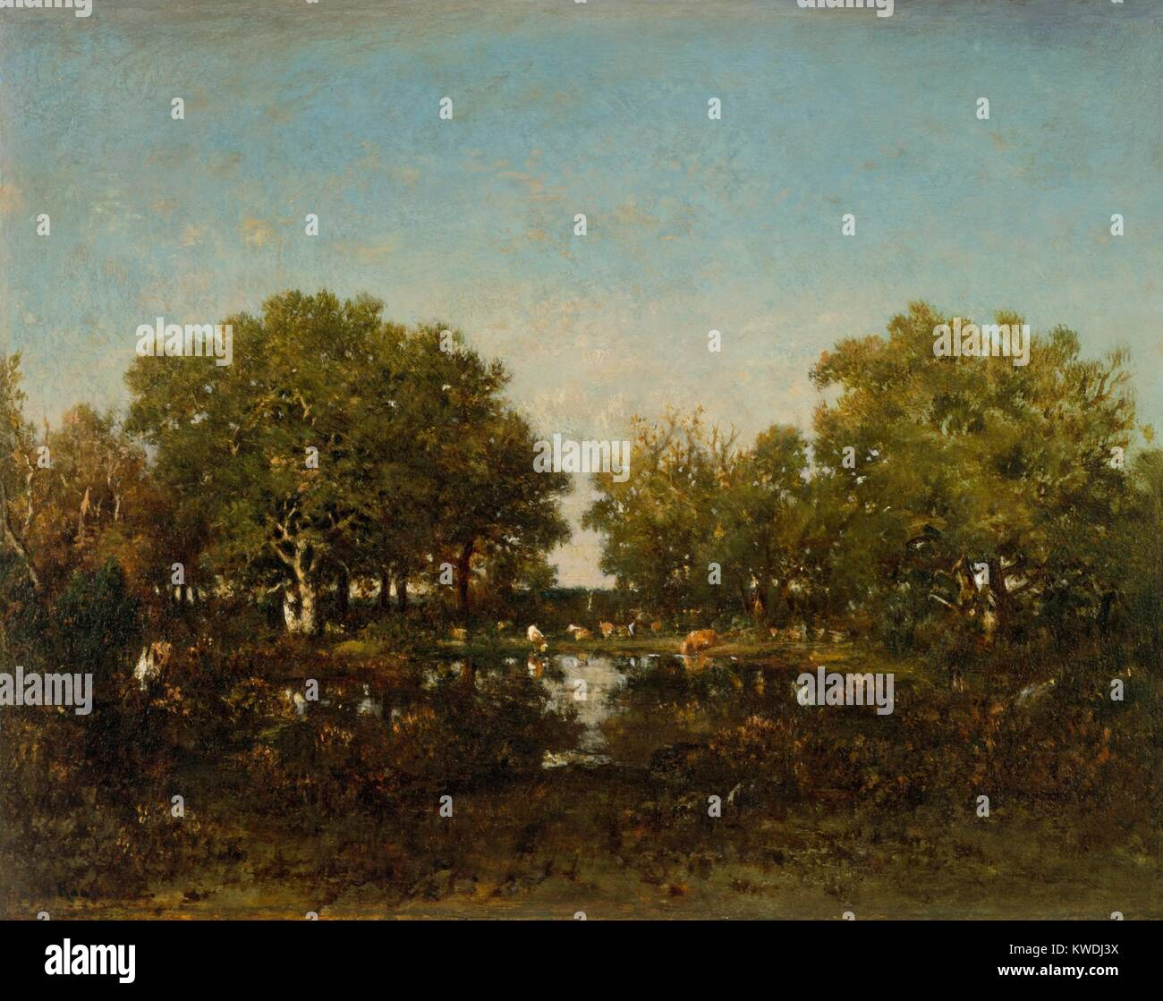 THE POOL, by Theodore Rousseau, 1862-64, French painting, oil on wood. Chambord Forest landscape with cattle drinking - Stock Image
