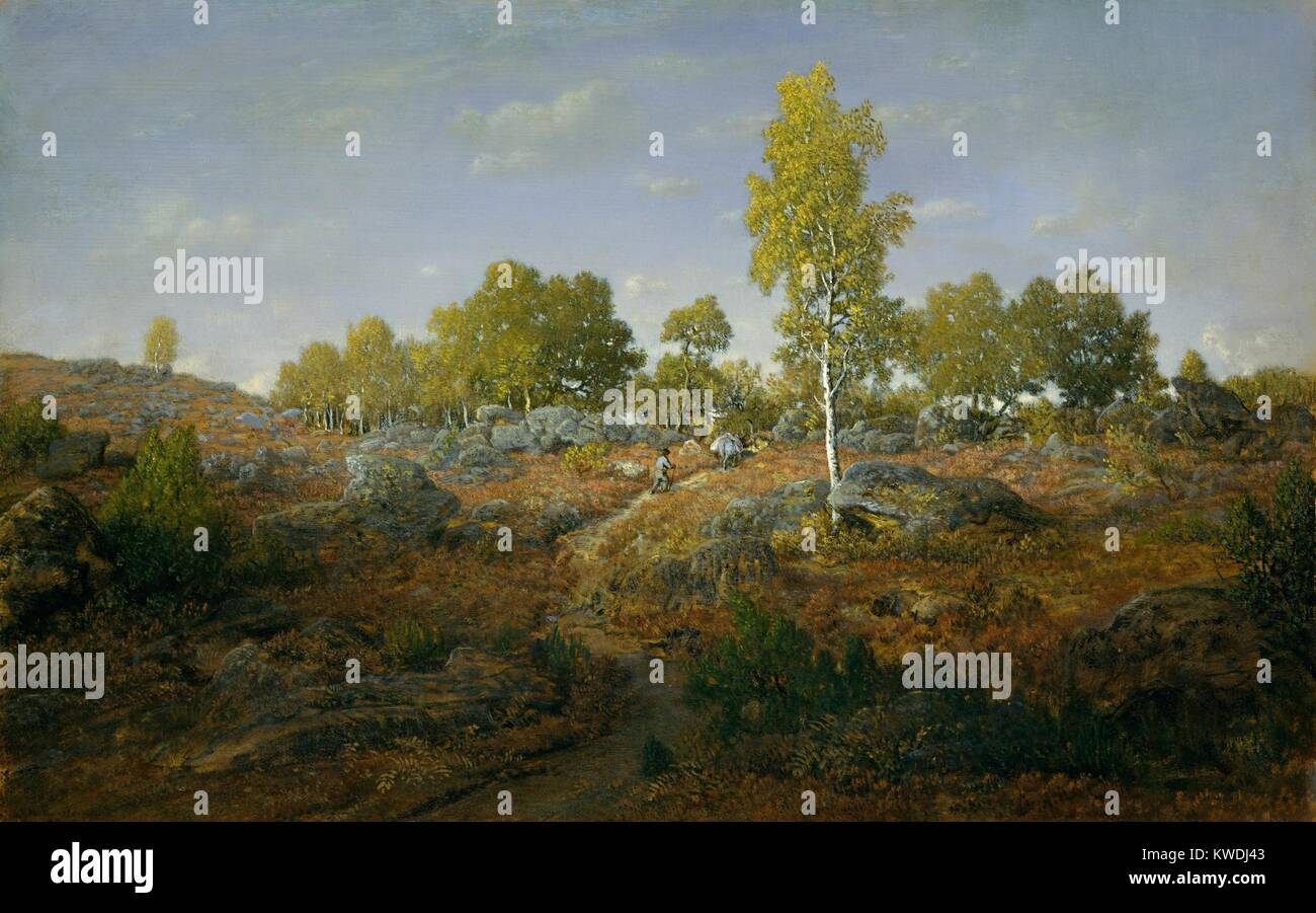 A PATH AMONG THE ROCKS, by Theodore Rousseau, 1861, French painting, oil on wood. The subject is the Forest of Fontainebleau - Stock Image