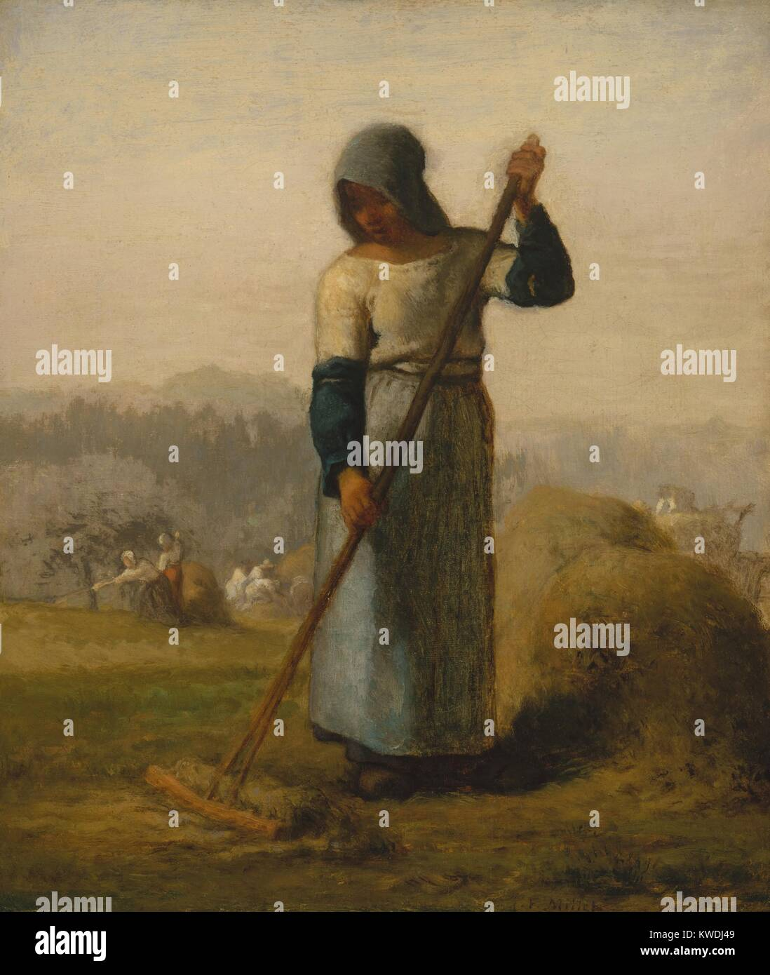 WOMAN WITH A RAKE, by Jean-Francois Millet, 1856-57, French painting, oil on canvas. After 20 years as portrait - Stock Image