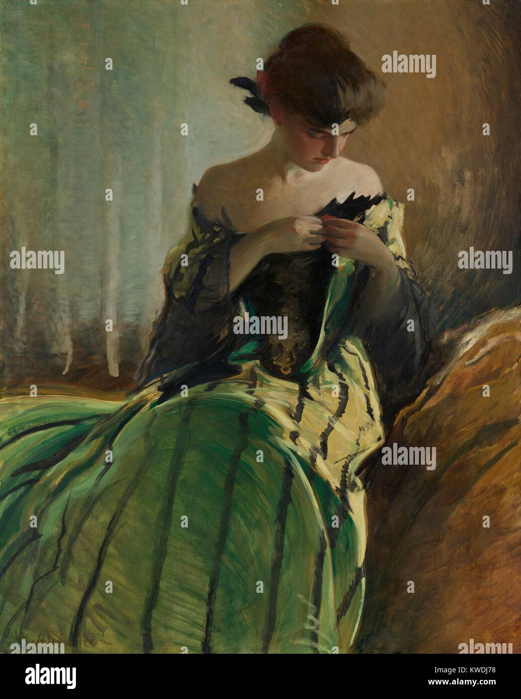 STUDY IN BLACK AND GREEN, by John White Alexander, 1909, American painting, oil on canvas. A young women pins an - Stock Image