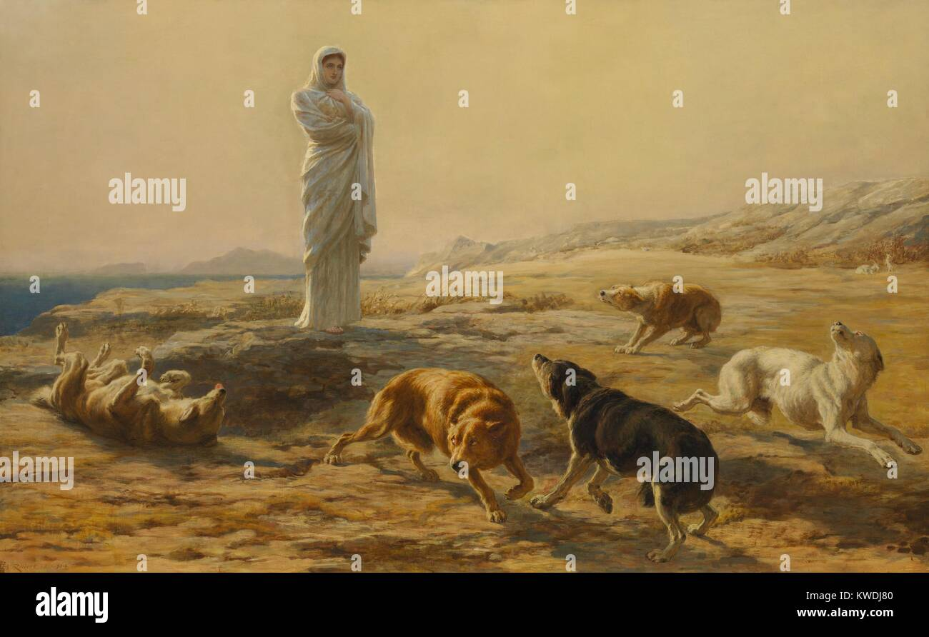 PALLAS ATHENA AND THE HERDSMANS DOGS, by Briton Riviere, 1876, British painting, oil on canvas. Riviere was one - Stock Image