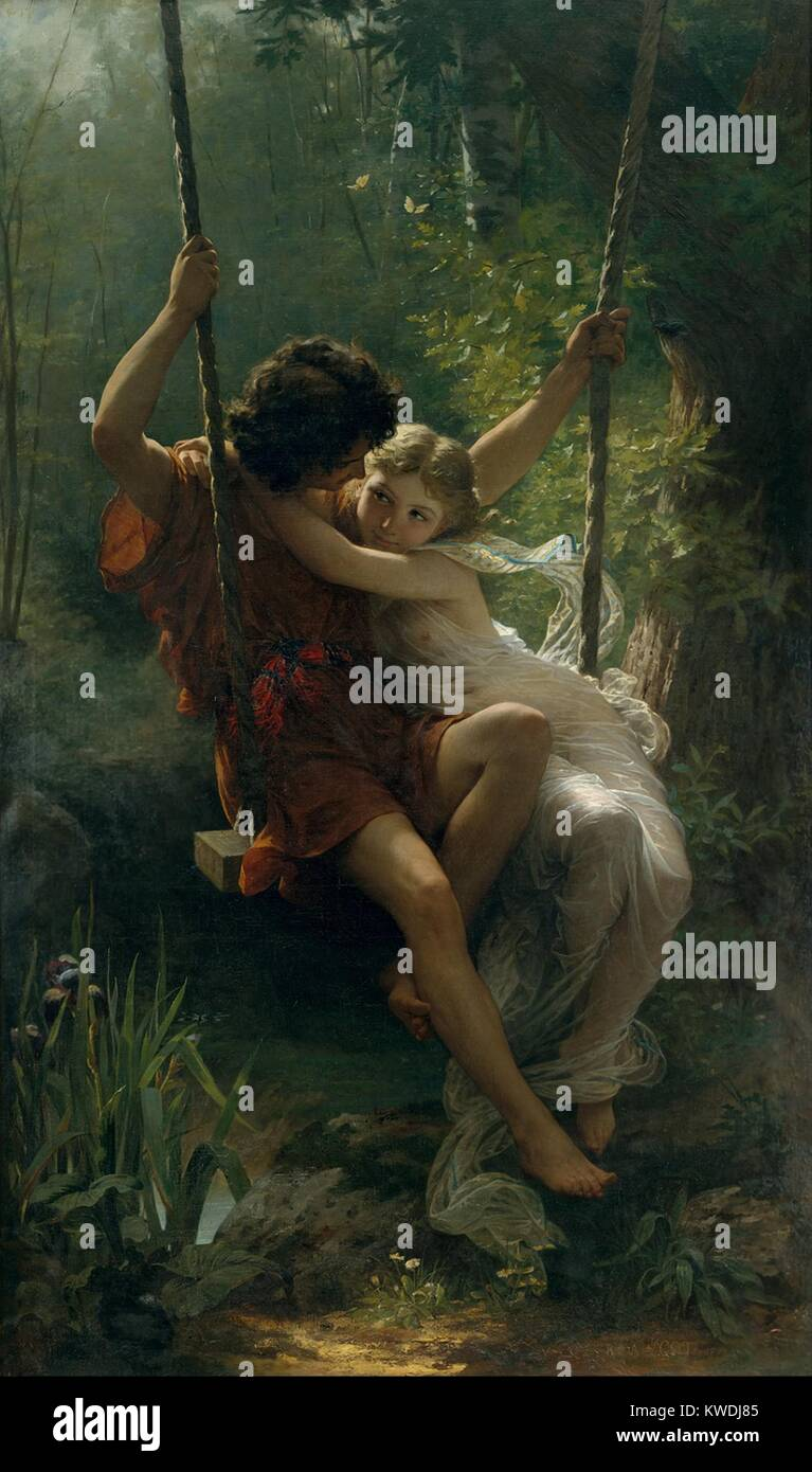SPRINGTIME, by Pierre-Auguste Cot, 1873, French painting, oil on canvas. Young lovers in Greek costumes share a - Stock Image