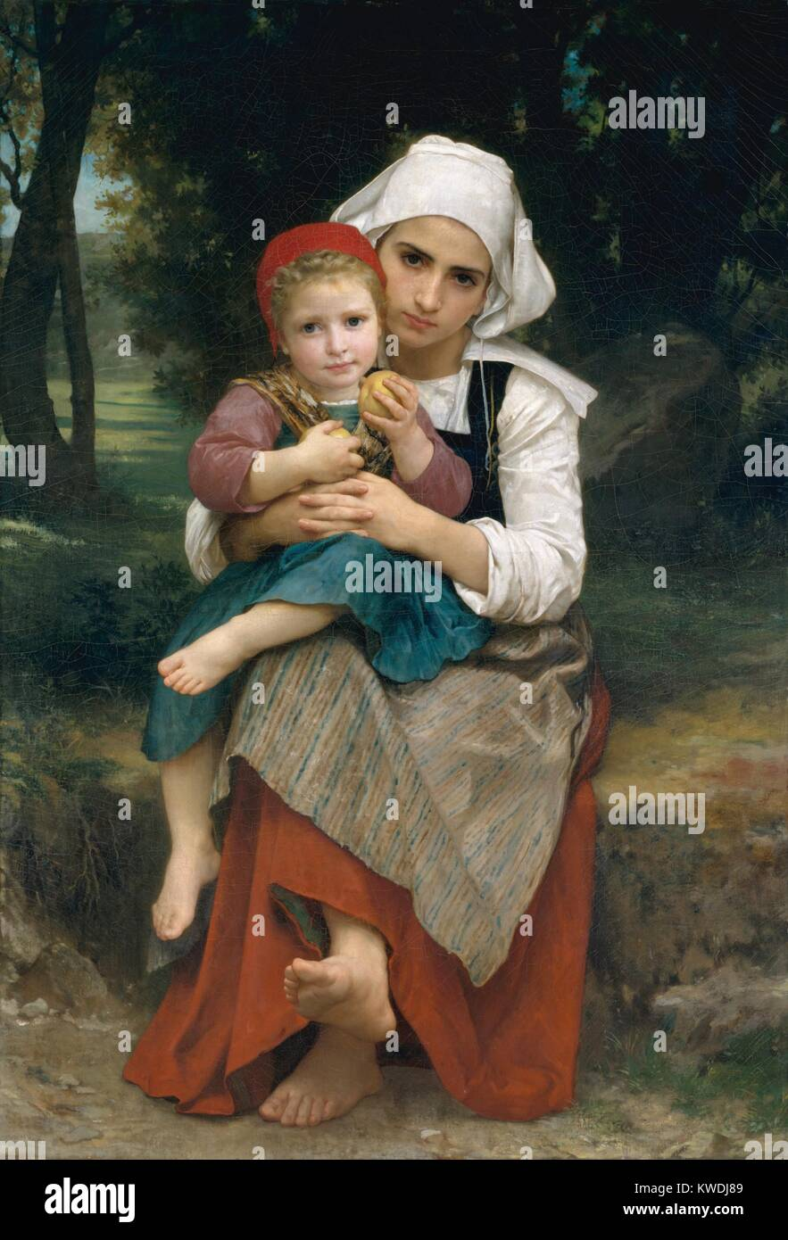 BRETON BROTHER AND SISTER, by William Bouguereau, 1871, French painting, oil on canvas. Perfectly drawn and smoothly - Stock Image
