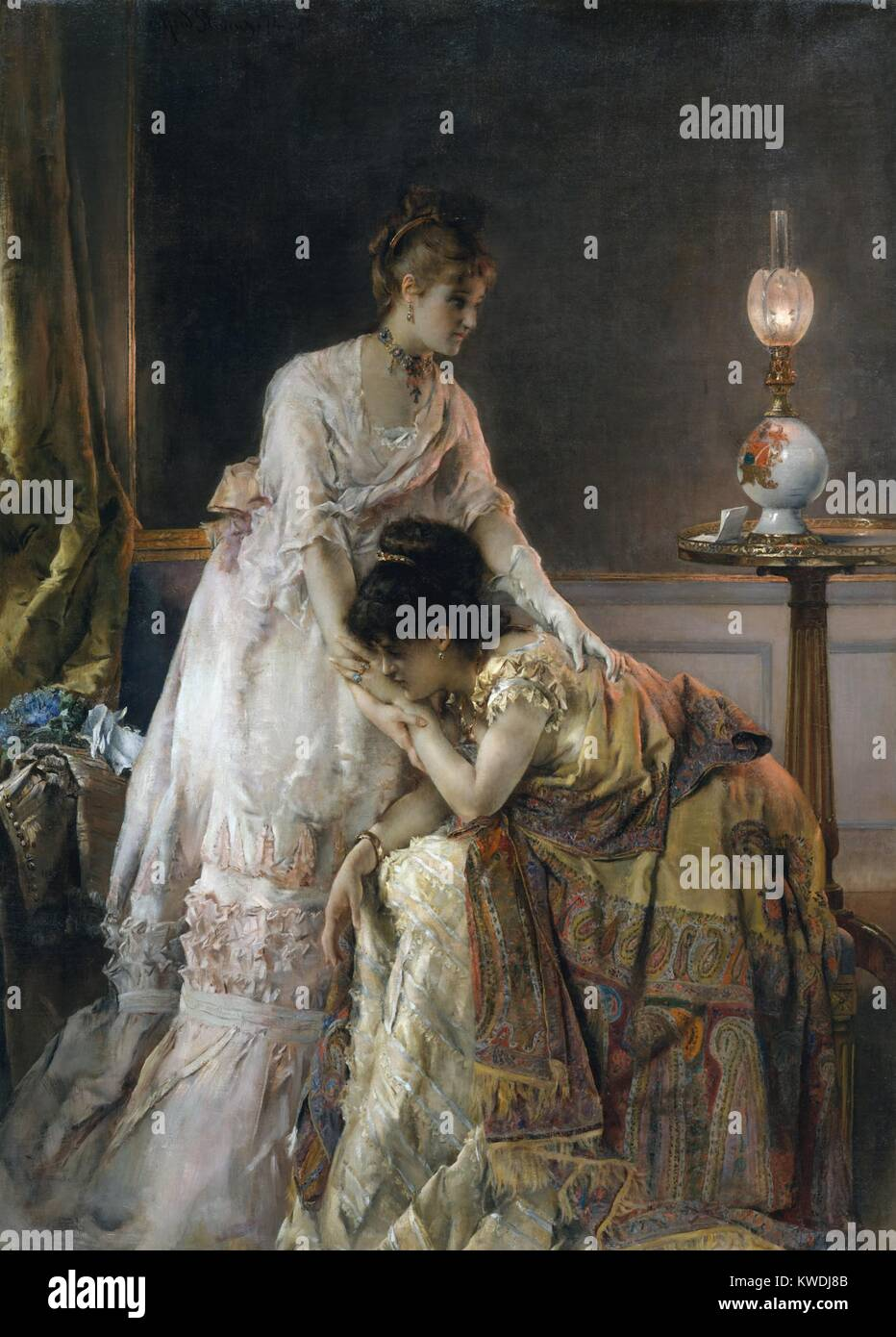 AFTER THE BALL, by Alfred Stevens, 1874, Belgian painting, oil on canvas. The alternate title of this scene of consolation - Stock Image