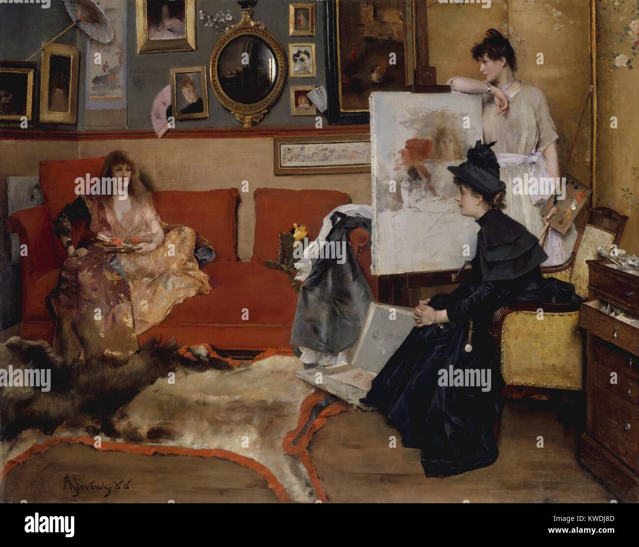 IN THE STUDIO, by Alfred Stevens, 1888, Belgian painting, oil on canvas. Three women in an elegant Parisian artists - Stock Image