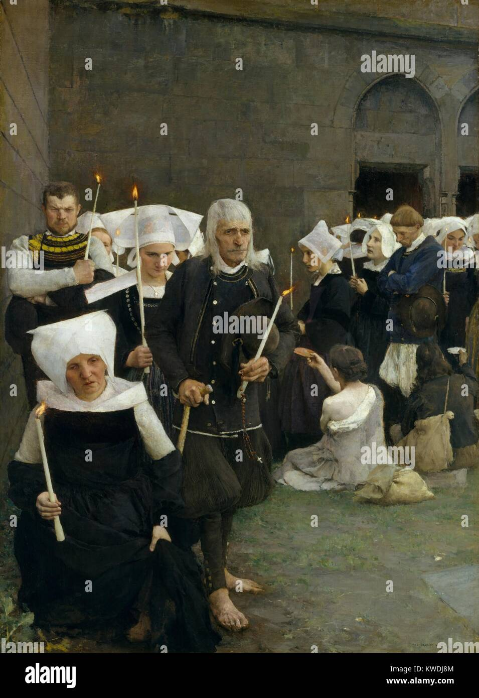 THE PARDON IN BRITTANY, by Pascal Dagnan-Bouveret 1886, French painting, oil on canvas. The traditional culture - Stock Image