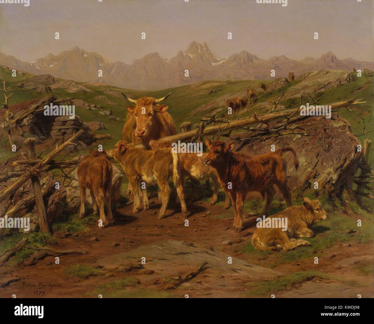 WEANING OF THE CALVES, by Rosa Bonheur, 1879, French painting, oil on canvas. Set in the Pyrenees Mountains, the - Stock Image