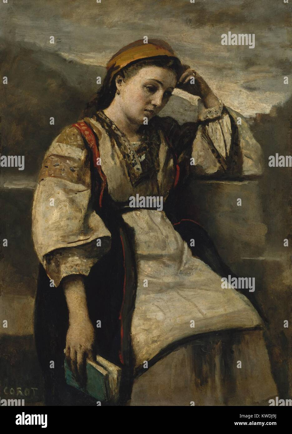 REVERIE, by Camille Corot, 1860-65, French painting, oil on wood. Corot posed working-class Parisian women in exotic - Stock Image