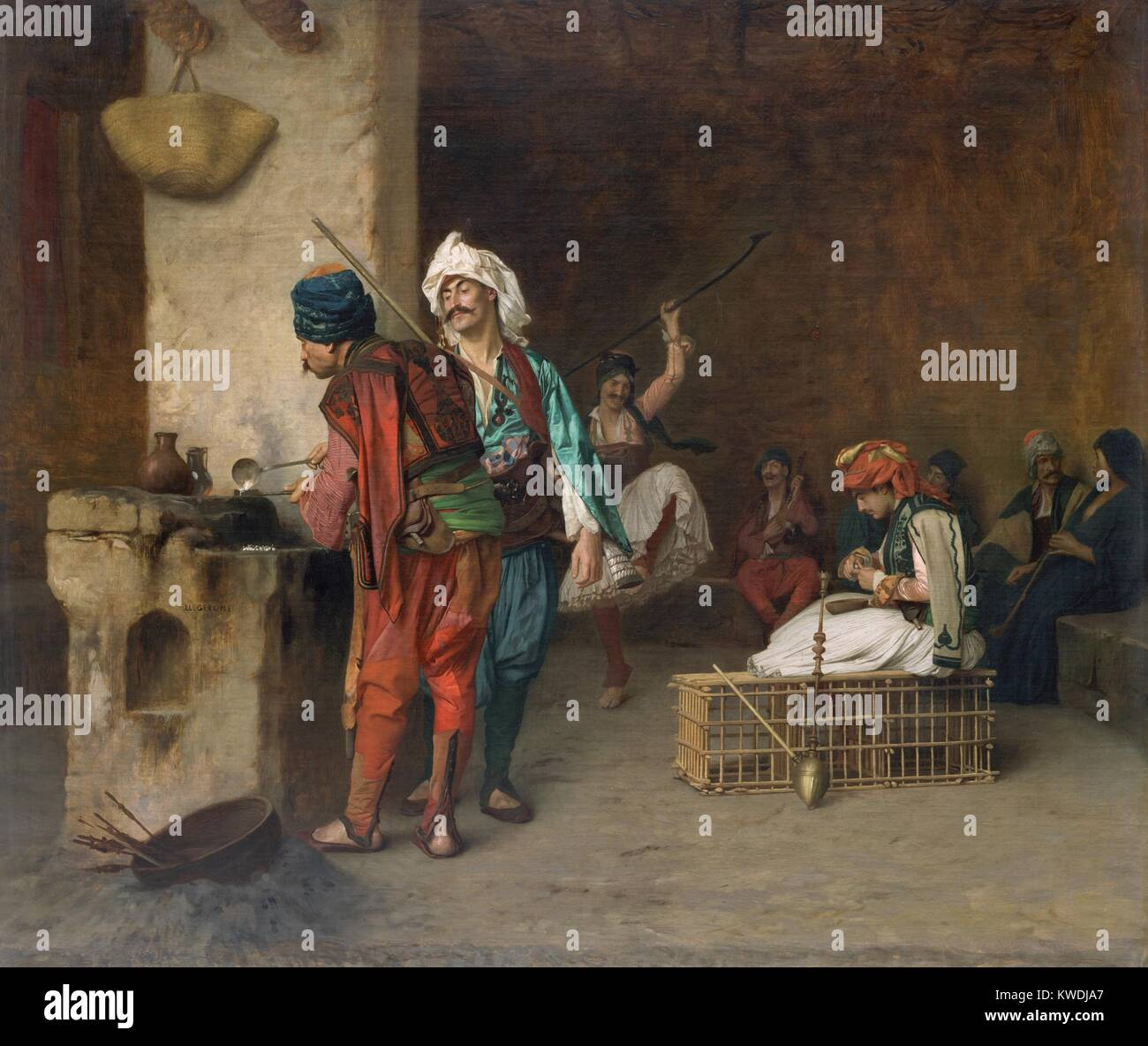 CAFÉ HOUSE, CAIRO, (CASTING BULLETS), by Jean-Leon Gerome, 1884, French painting, oil on canvas. Bashi-bazouks, Stock Photo
