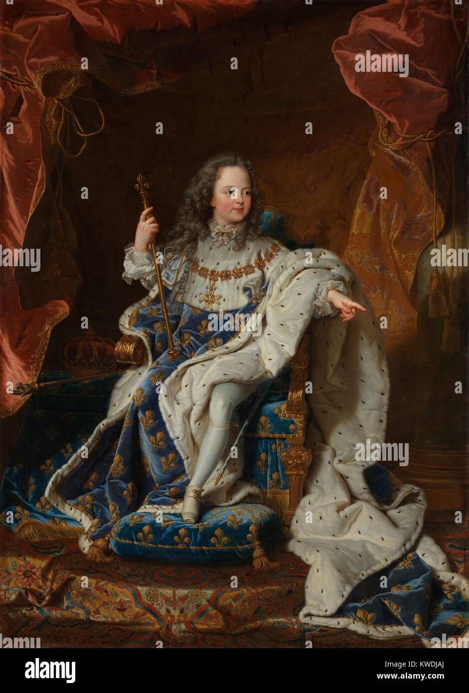 LOUIS XV, by Hyacinthe Rigaud, 1714, French Baroque painting, oil on canvas. He ascended the throne at age five, - Stock Image