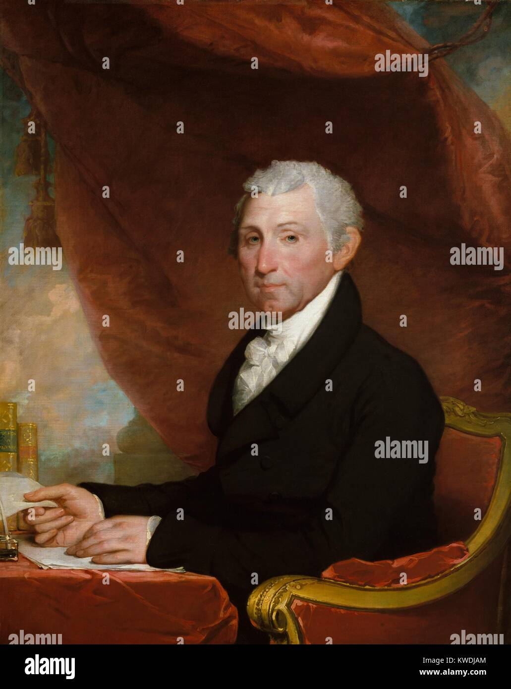 JAMES MONROE, by Gilbert Stuart, 1820-22, American painting, oil on canvas. The fifth President of the United States - Stock Image