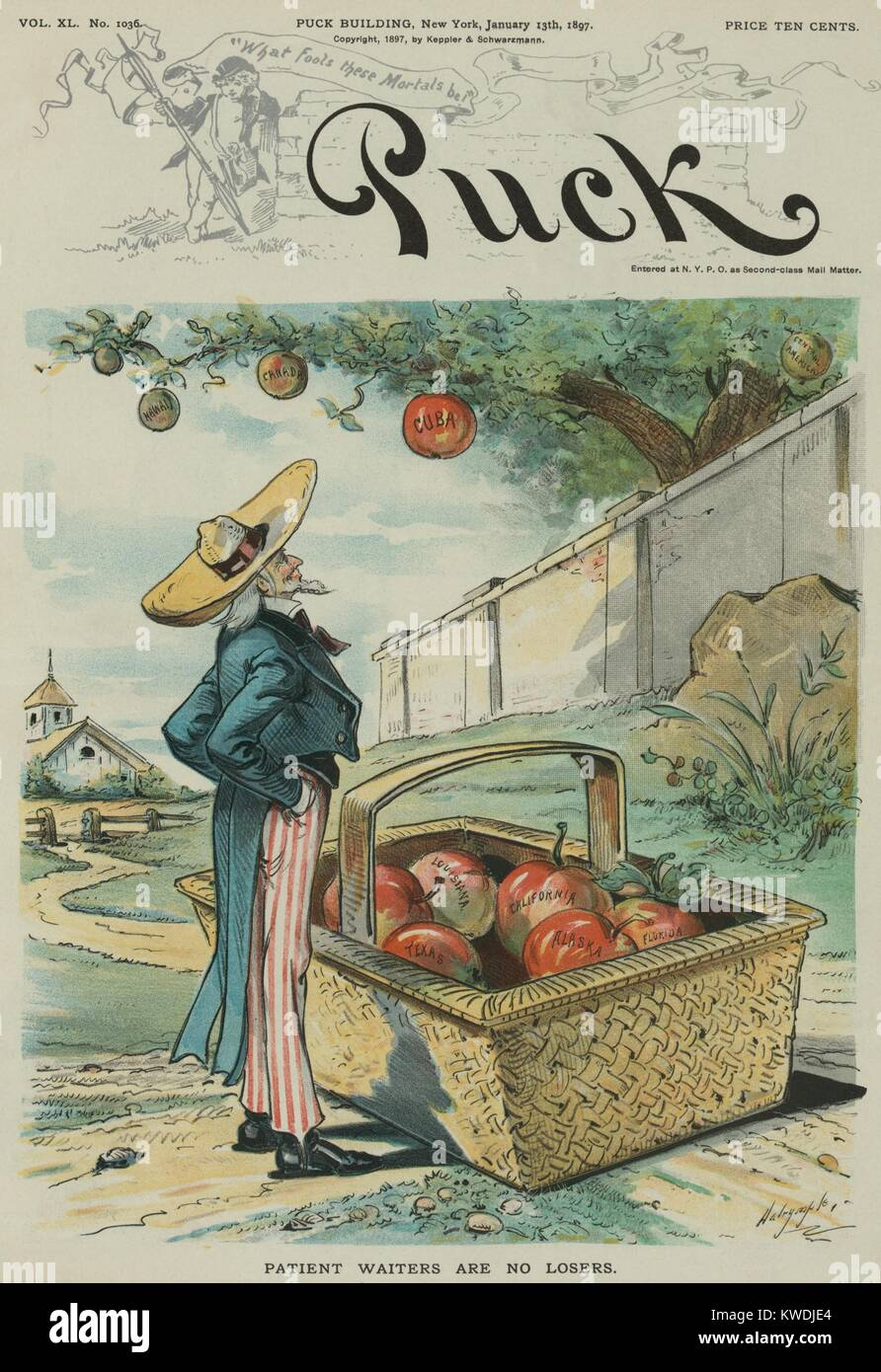 PATIENT WAITER ARE NO LOSERS, political cartoon from Puck Magazine, Jan. 13, 1897. Uncle Sam waits beneath an apple - Stock Image