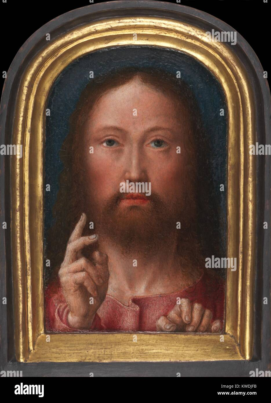 CHRIST BLESSING, by Gerard David, 1500-05, Netherlandish, Northern Renaissance oil painting. The painted surface - Stock Image