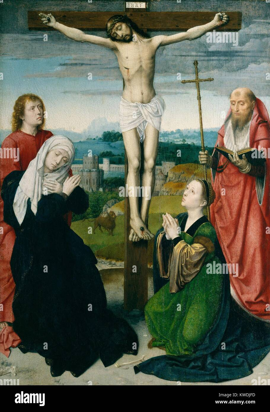THE CRUCIFIXION, by Gerard David, 1495, Netherlandish, Northern Renaissance painting, oil on wood. Crucifixion includes - Stock Image