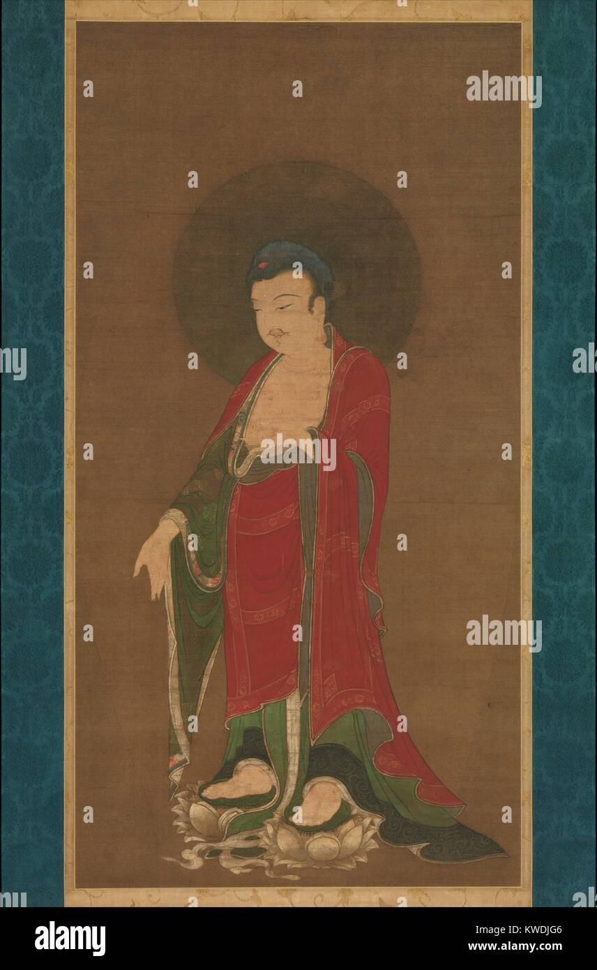 BUDDHA AMITABHA DESCENDING FROM HIS PURE LAND, Chinese, Southern Song dynasty, painting, 1280-99. Buddha Amitabha - Stock Image