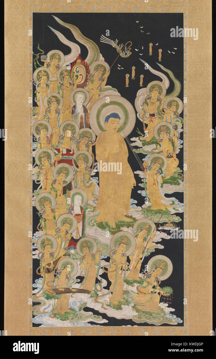 BUDDHA AND ATTENDANTS, Japanese, 17th-18th c., painting, ink and color on paper. They are supported on stylized - Stock Image