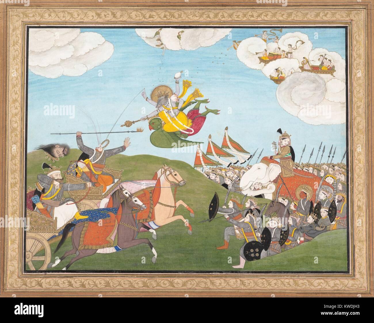 VISHNU AS VARAHA, THE BOAR AVATAR, SLAYS BANASUR, A DEMON GENERAL, 19th c., Hindu, painting. Indian ink and watercolor - Stock Image
