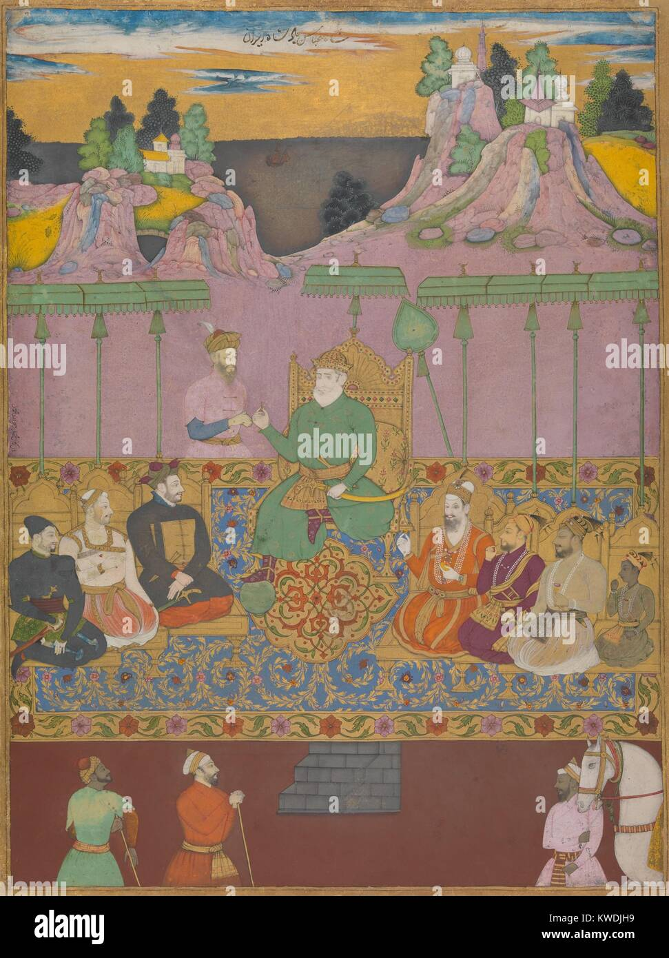 THE HOUSE OF BIJAPUR, by Chand Muhammad, 1670-80s, Indian painting, ink, watercolor on paper. Dynastic portrait - Stock Image