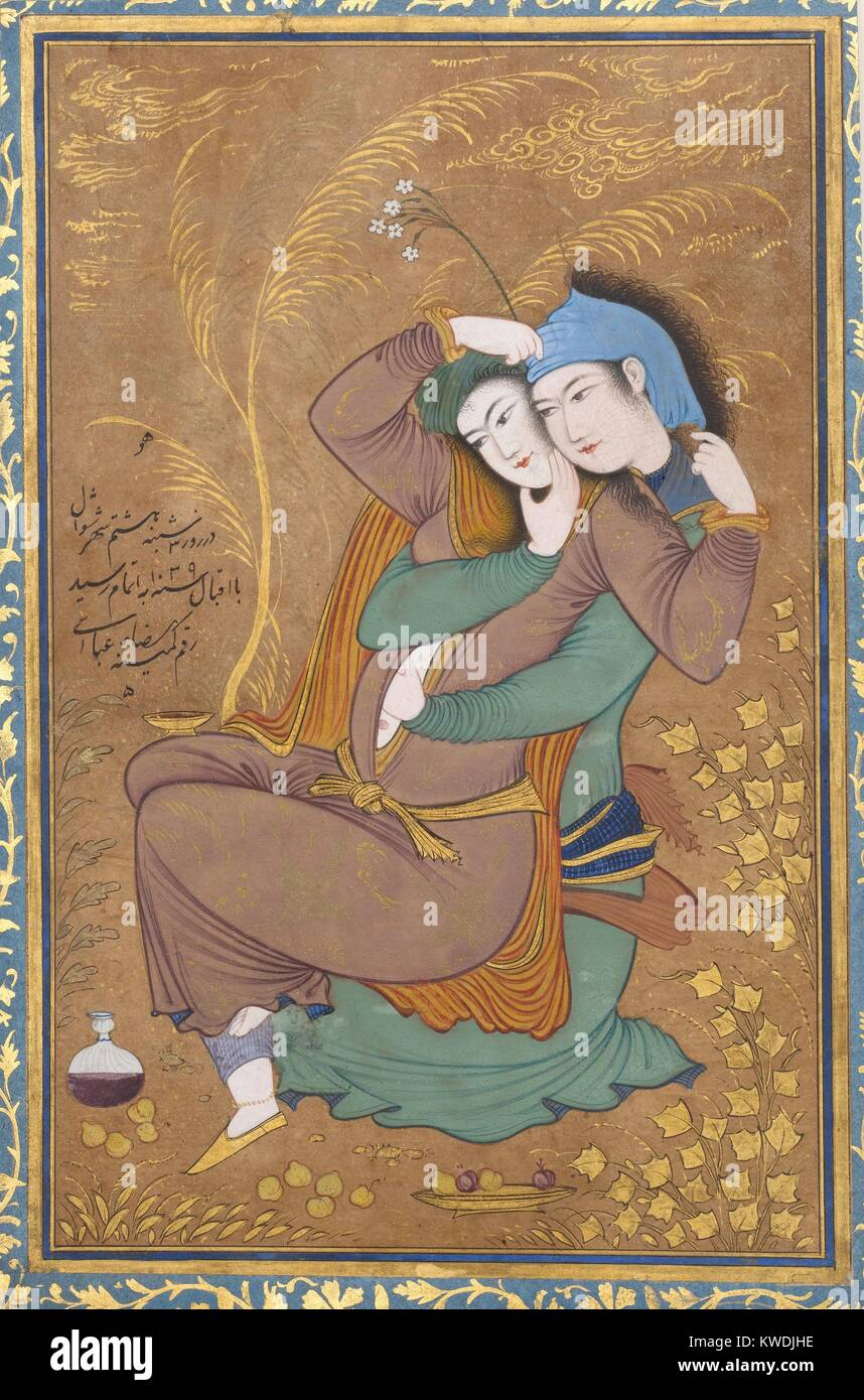 THE LOVERS, by Riza-yi Abbasi, 1630, Persian painting, opaque watercolor, ink, gold on paper. Miniature of lovers Stock Photo