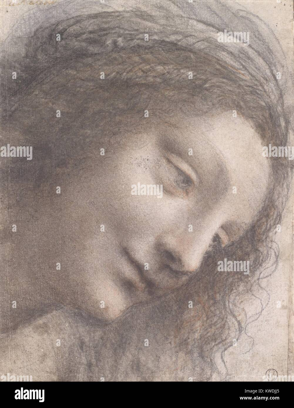 HEAD OF THE VIRGIN, by Leonardo da Vinci, 1510–13, Italian Renaissance chalk and charcoal drawing. This drawing - Stock Image