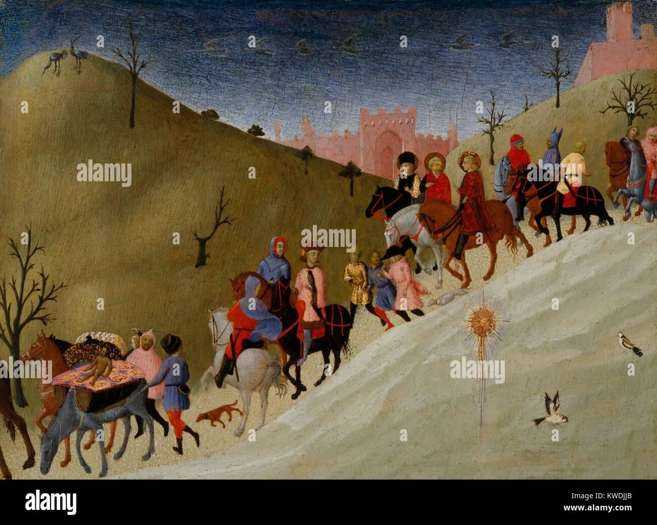 THE JOURNEY OF THE MAGI, by Sassetta, 1433–35, Italian Renaissance painting, tempera, gold on wood. Sassetta was - Stock Image