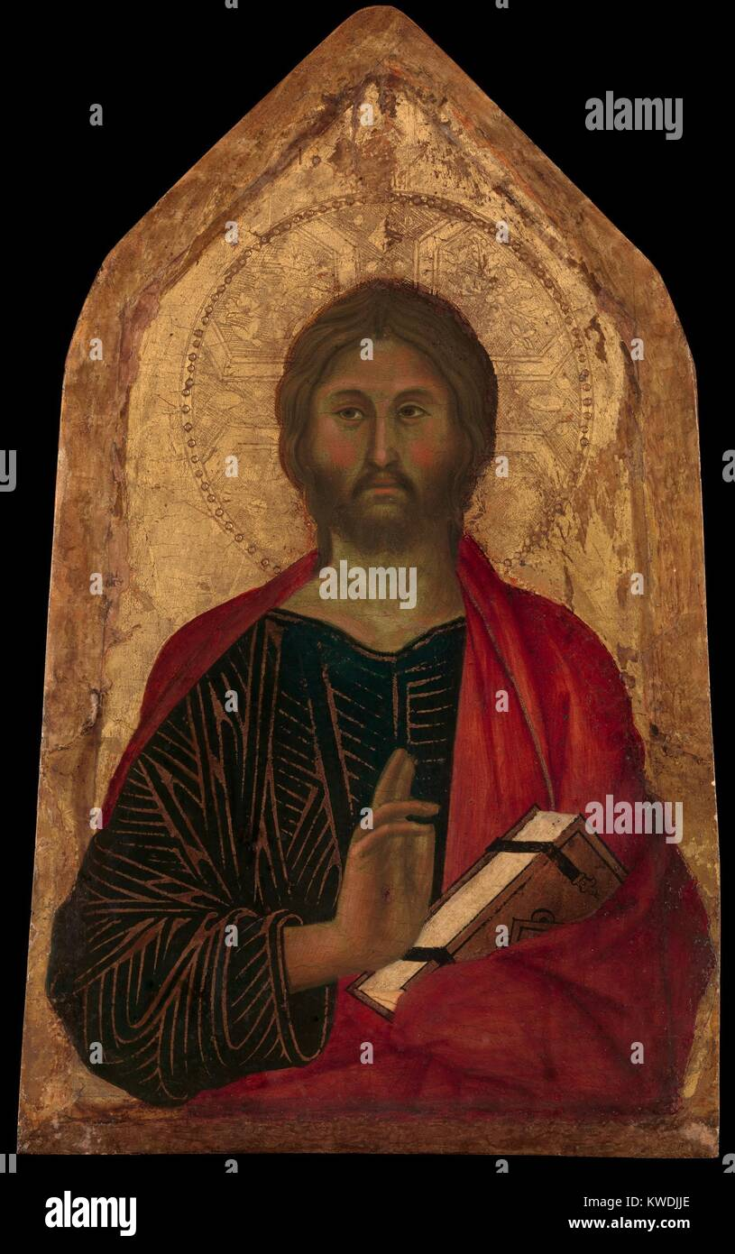 CHRIST BLESSING, by Segna di Buonaventura, 1311, Italian Proto-Renaissance tempera painting. Christs face, hand - Stock Image