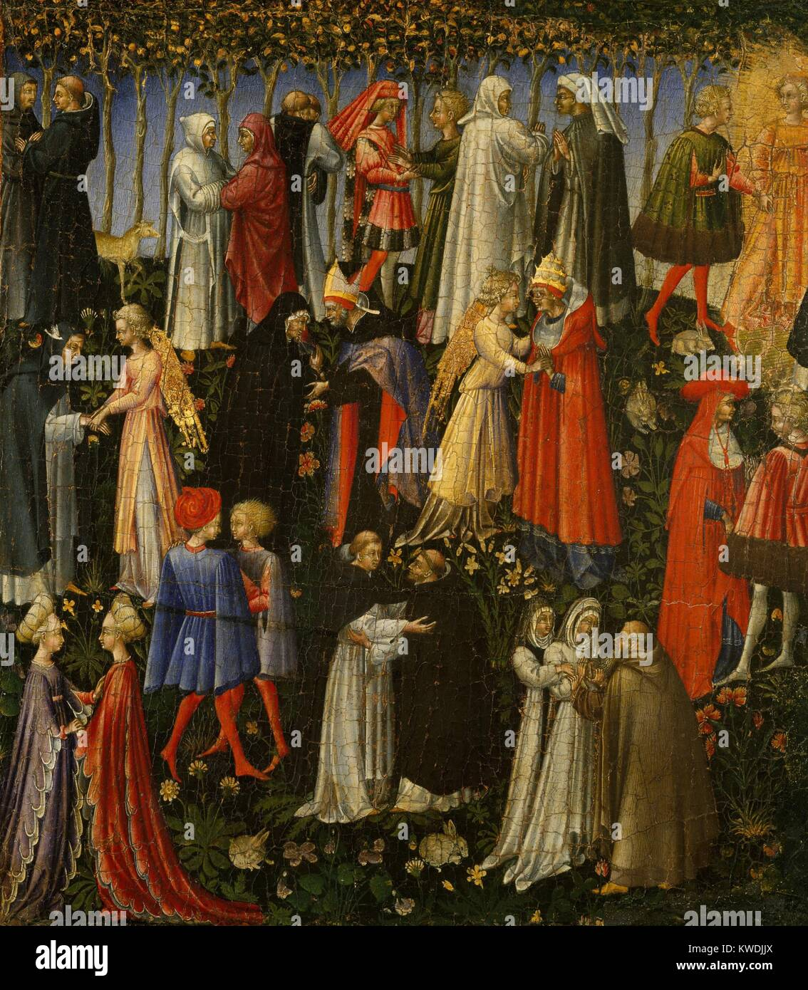 PARADISE, by Giovanni di Paolo, 1445, Italian Renaissance painting, tempera on wood. Saints and Angels embrace in - Stock Image