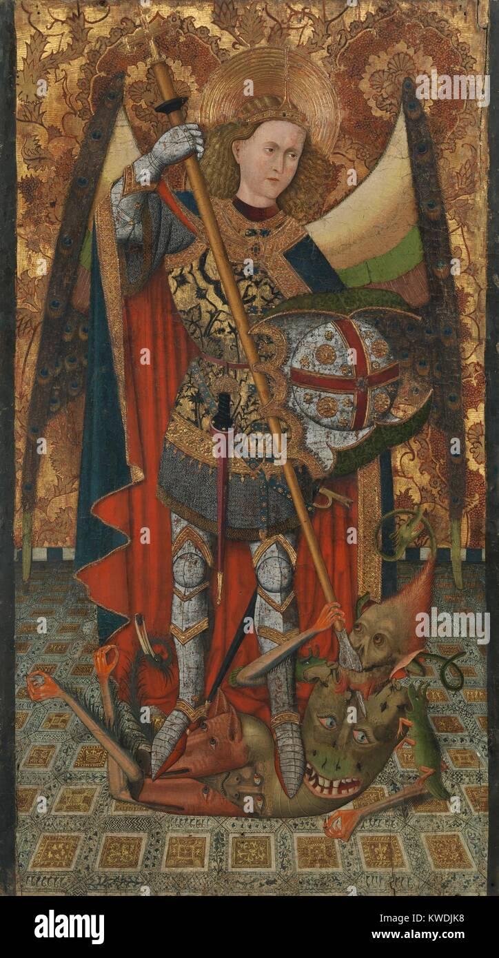 SAINT MICHAEL, by Master of Belmonte, 1450-1500, Netherlandish, Northern Renaissance oil painting. The Archangel - Stock Image