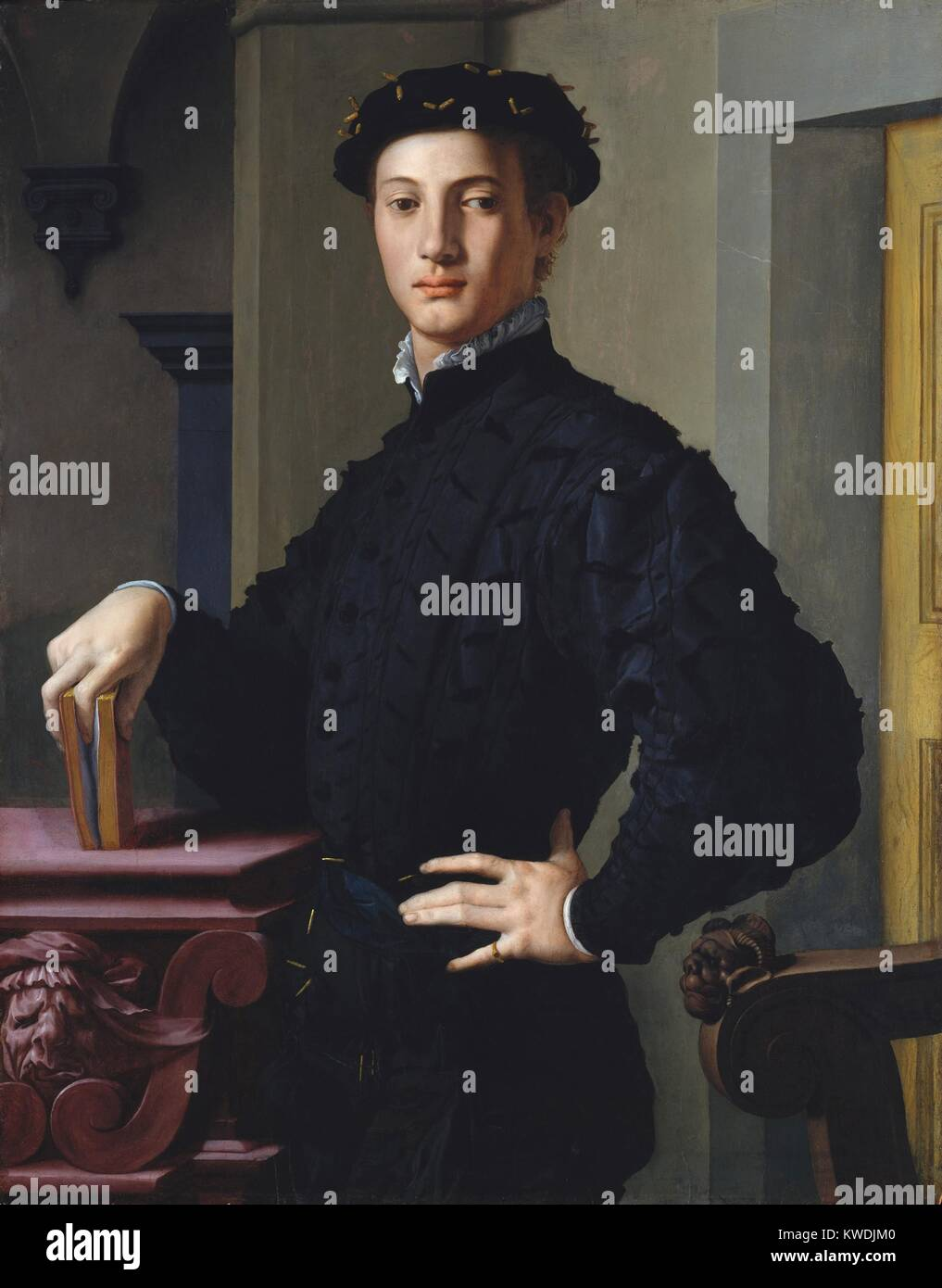 PORTRAIT OF A YOUNG MAN, by Bronzino, 1530s, Italian Renaissance painting, oil on wood. The sitter is thought to - Stock Image