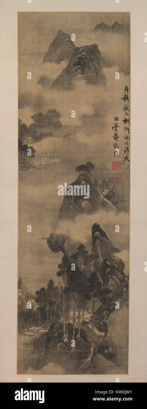 MOUNTAINS ALONG RIVERBANKS, by Zhang Ruitu, 1600–1640, Chinese painting, ink on satin. This Northern Song dynasty - Stock Image