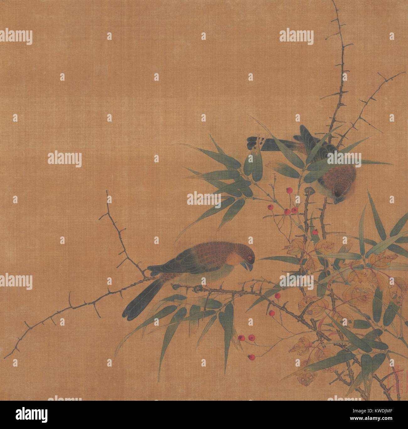BAMBOO BRANCH WITH BERRIES AND BIRDS, 17th c., Chinese painting, Qing dynasty, ink, color on silk. Birds were one - Stock Image