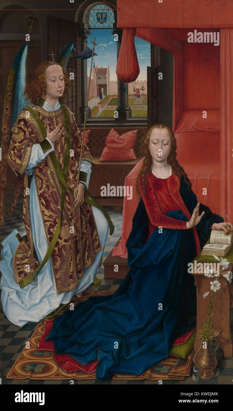 THE ANNUNCIATION, by Hans Memling, 1465-70, Netherlandish, Northern Renaissance oil painting. The announcement by - Stock Image