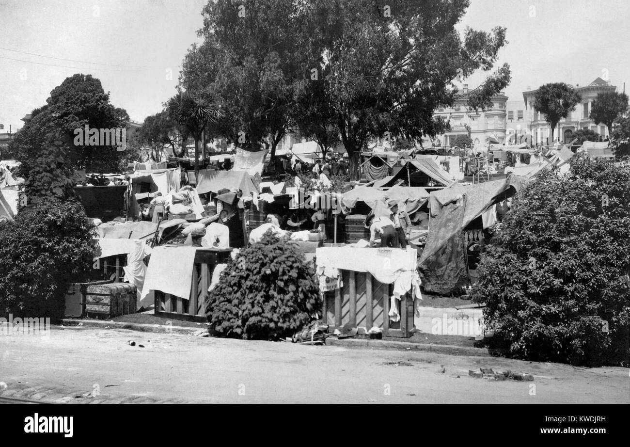 Tent city in Jefferson Square, San Francisco, on April 20, 1906 after April 18, 1906 earthquake. The camp gave long - Stock Image