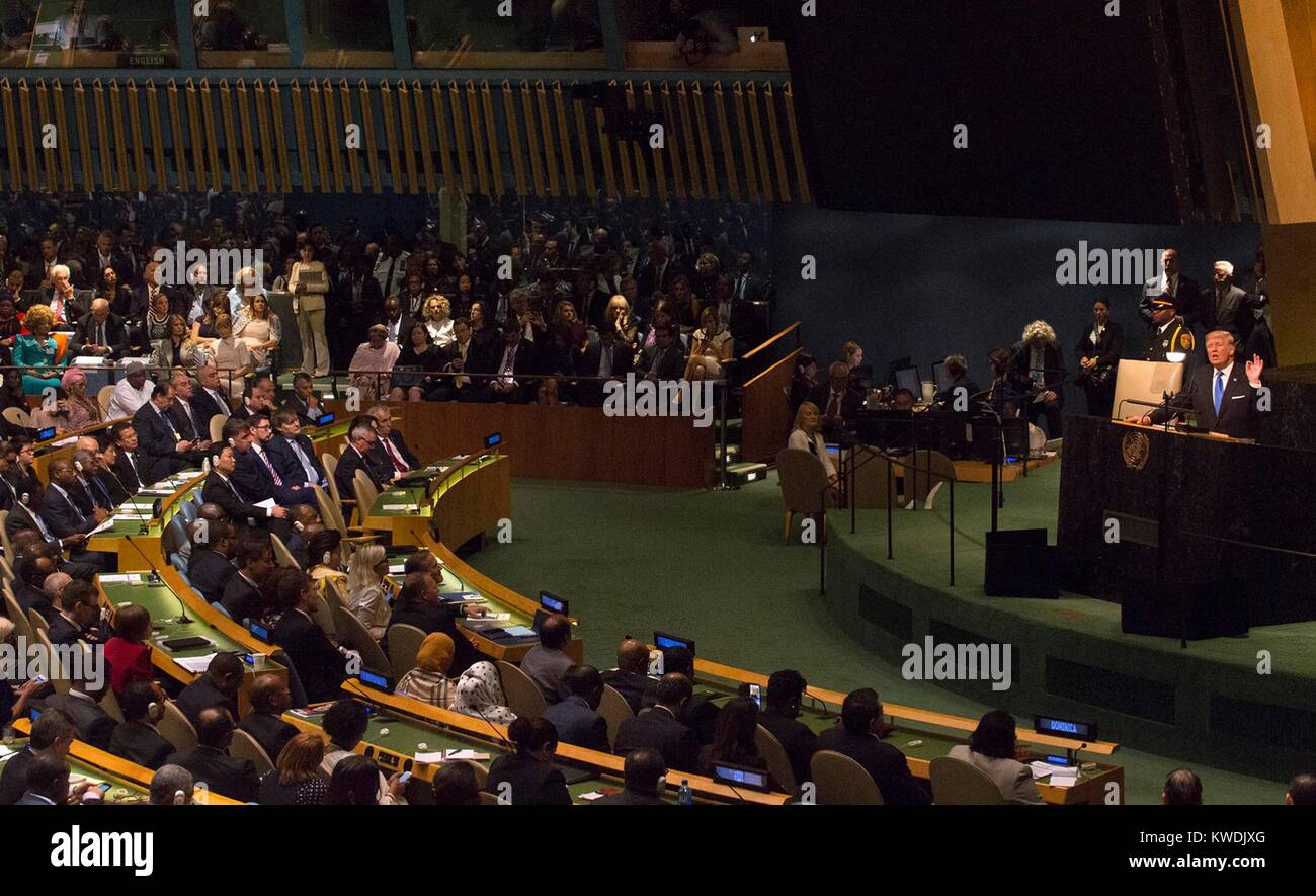 President Donald Trump addresses the 72nd Session of the United Nations General Assembly. His most notable statement - Stock Image