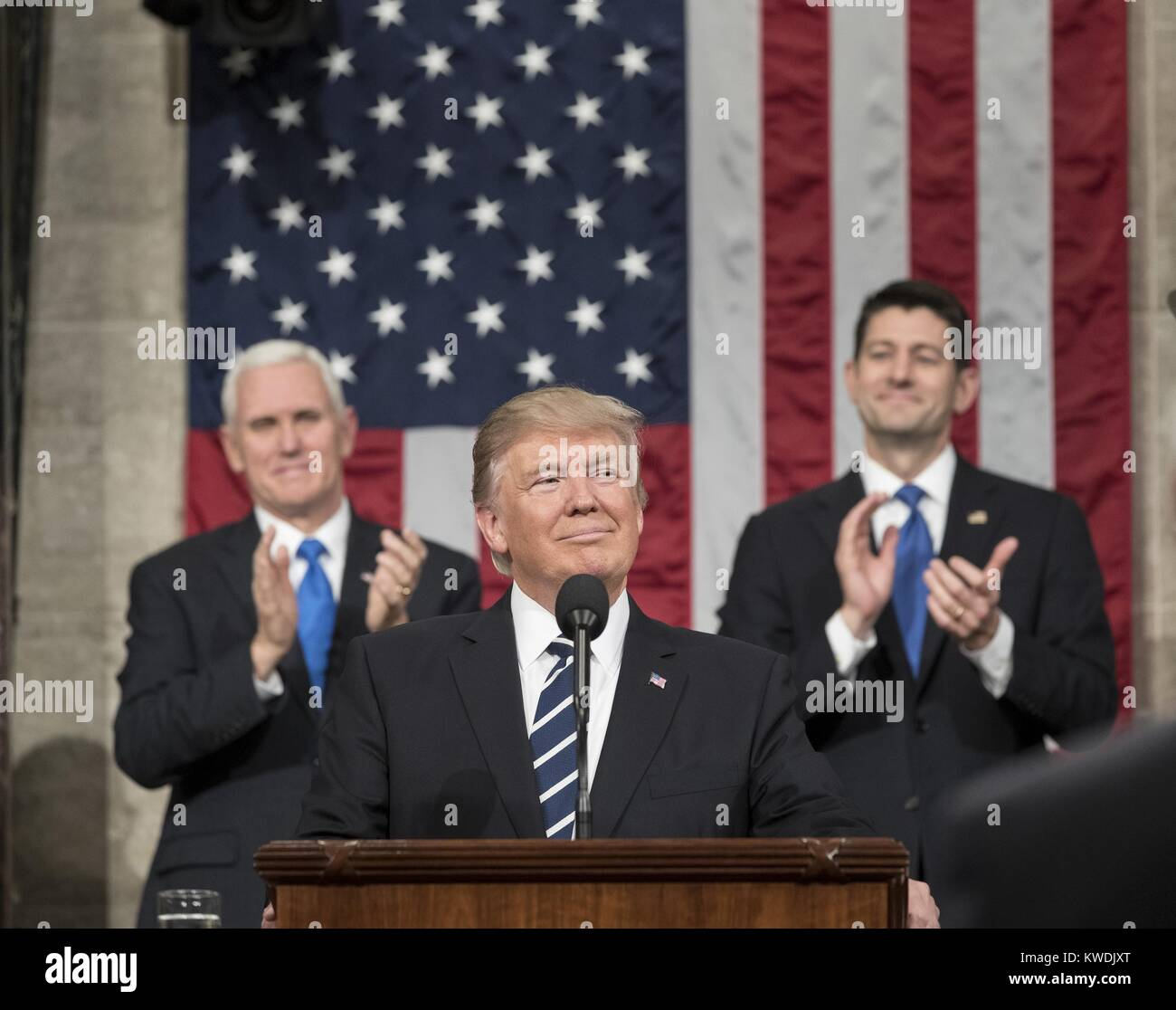 President Donald Trump delivers his first address to a joint session of Congress, Feb. 28, 2017. In the background - Stock Image