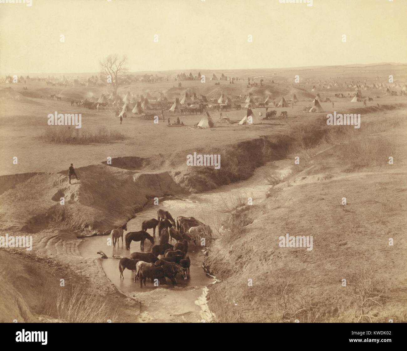 Brule Sioux camp of 2,000 after the Wounded Knee Massacre, on Pine Ridge Indian Reservation. On Dec. 29, 1890, warriors Stock Photo