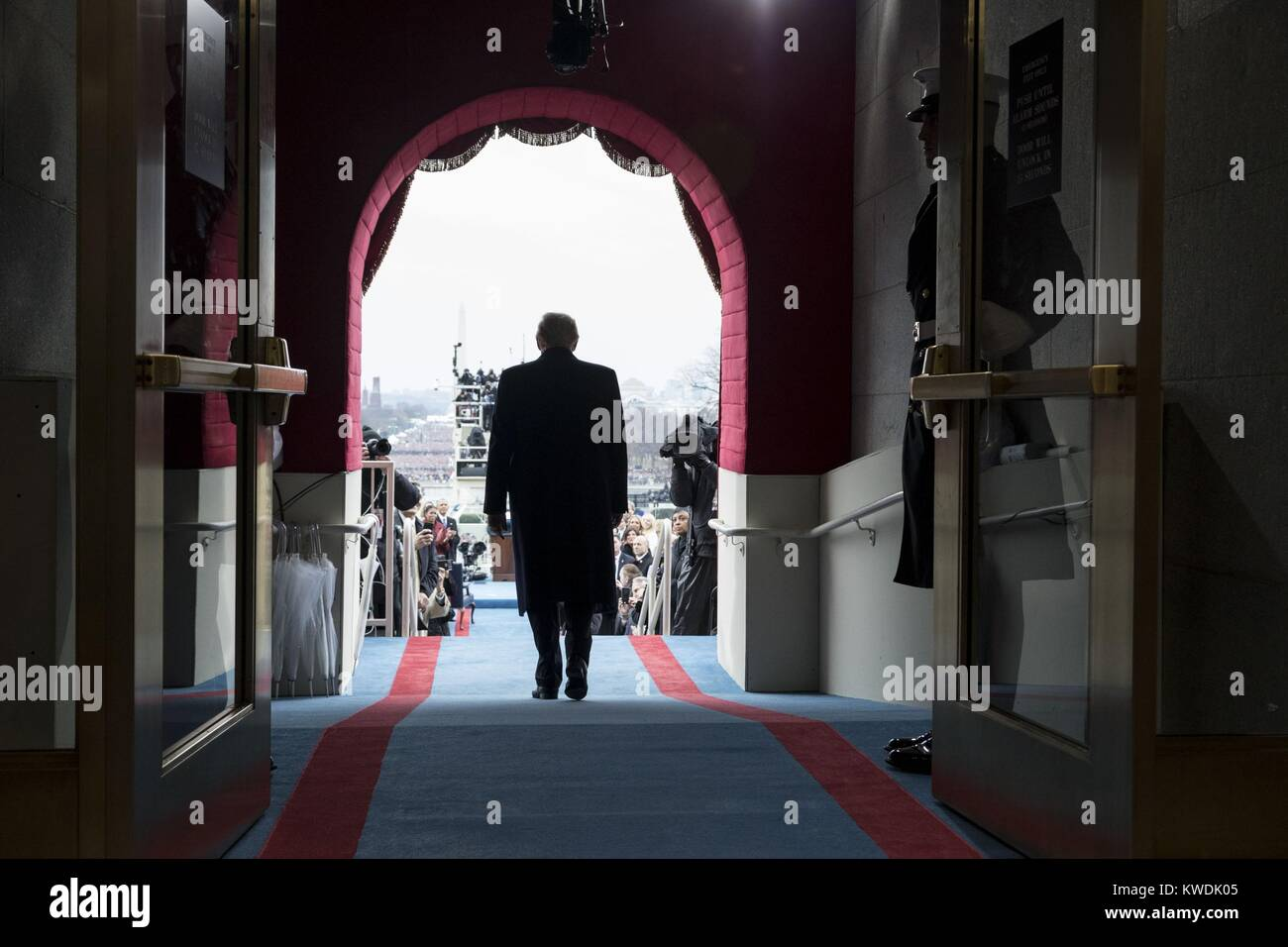 Back view of President-elect Donald Trump walking to his inaugural swearing-in ceremony. Jan. 19, 2017 (BSLOC_2017 - Stock Image