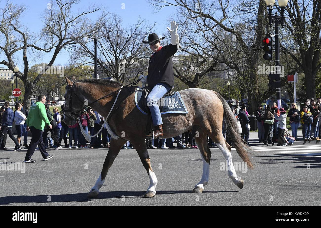 Ryan Zinke, US Sec. of the Interior is a 5th-generation Montanan and former US Navy SEAL. He road a horse to his - Stock Image