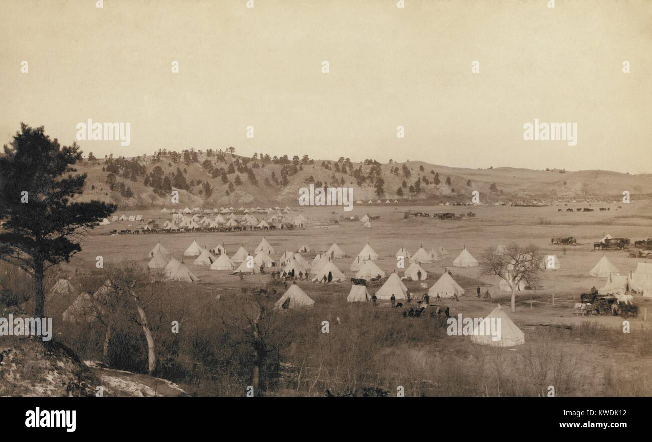 General Brooks Camp near Pine Ridge, S.D., Jan. 17, 1891. The view includes the camp of the 2nd US Infantry Regiment Stock Photo