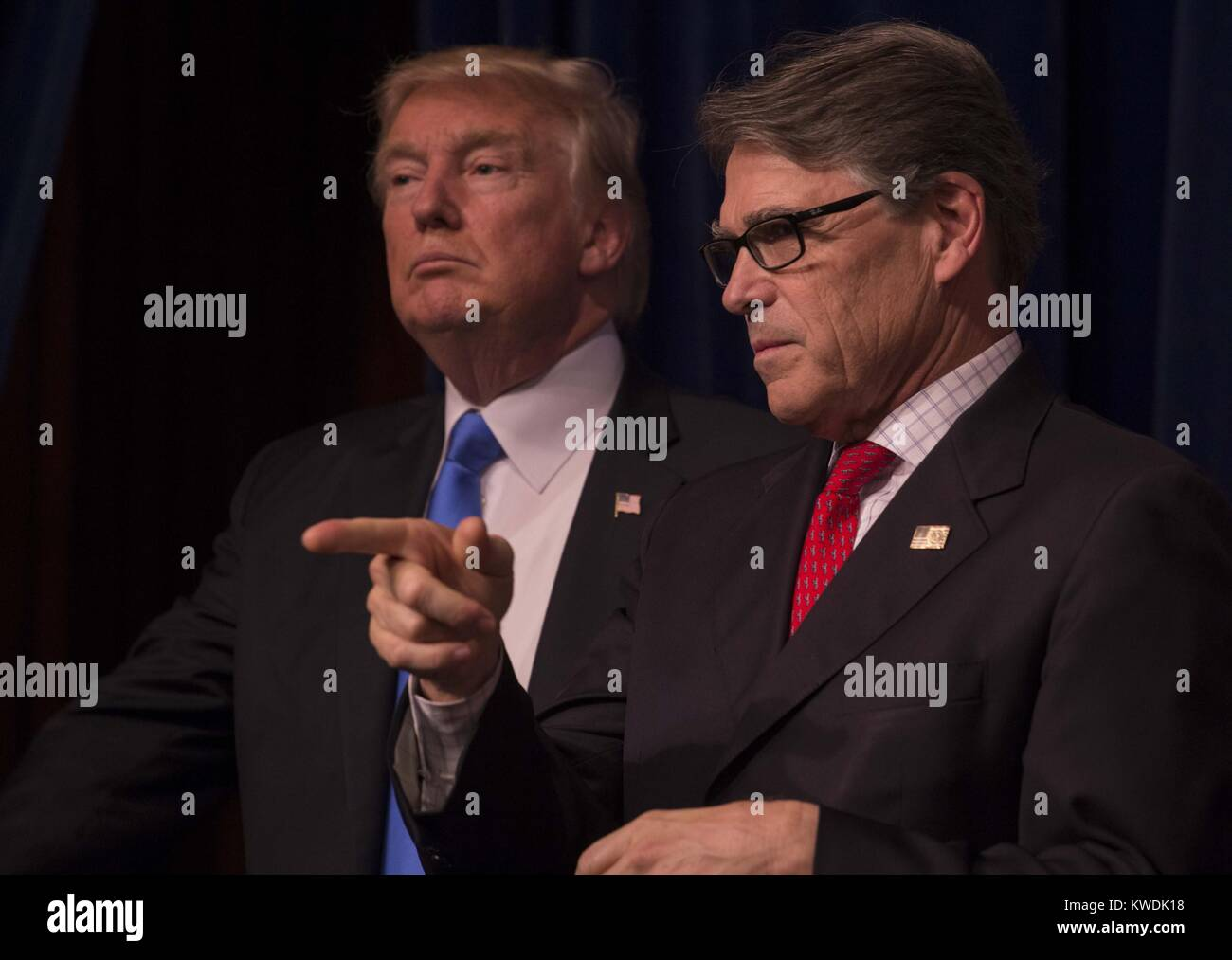 President Donald Trump and Secretary of Energy, Rick Perry, June 29, 2017. At the Unleashing American Energy event Stock Photo