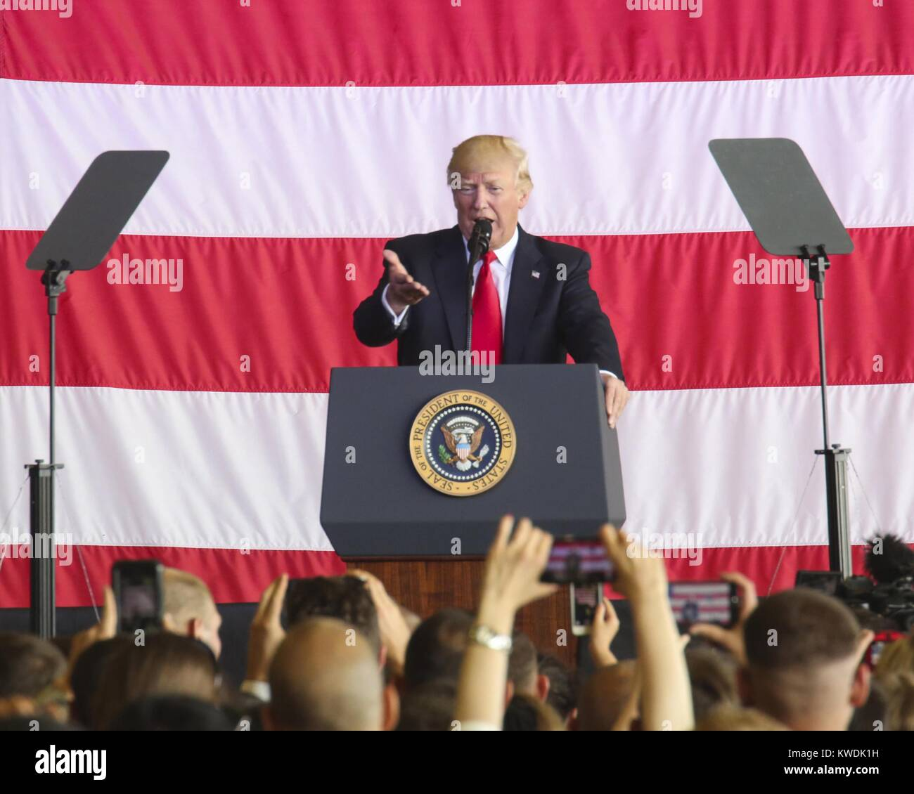 President Donald Trump speaks to US at Naval Air Station Sigonella, Italy, May 27, 2017. Trump traveled to Sicily Stock Photo